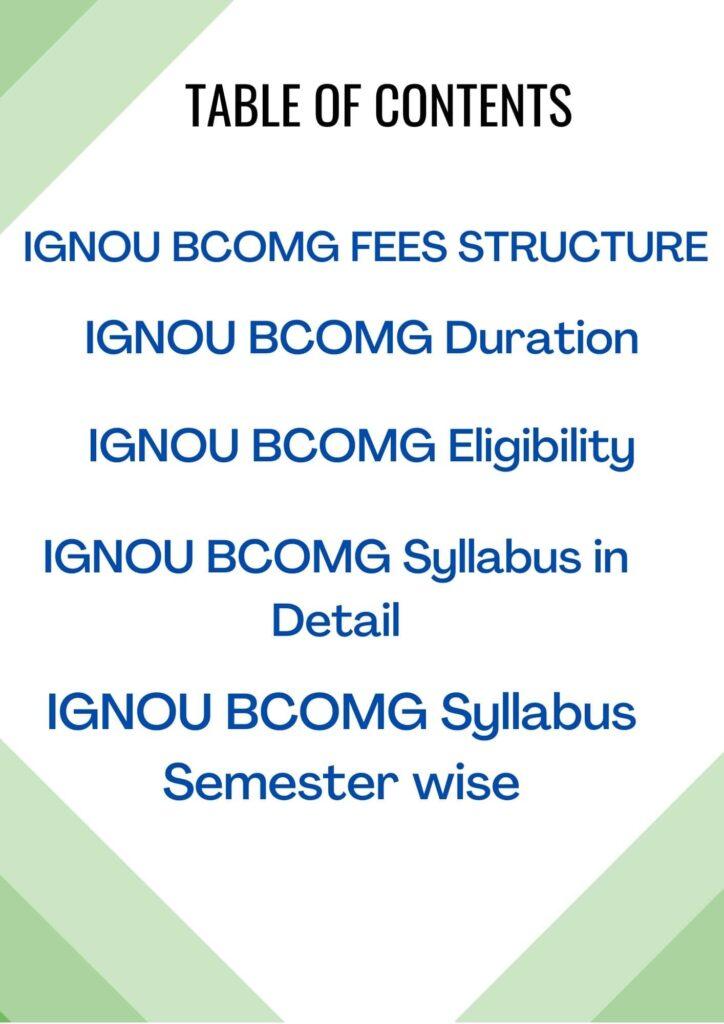 ignou bcomg syllabus