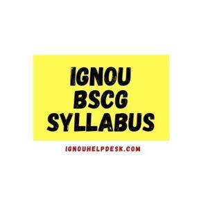 ignou bscg syllabus